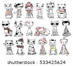 Vector Illustration Of Cat Set...