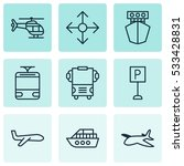 set of 9 transport icons. can...