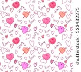vector seamless pattern. hearts ... | Shutterstock .eps vector #533432275