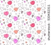 vector seamless pattern. hearts ... | Shutterstock .eps vector #533432311