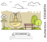 city landscape with bench and...   Shutterstock .eps vector #533438554