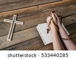 young praying womans hands with ... | Shutterstock . vector #533440285