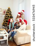 family in living room decorated ... | Shutterstock . vector #533476945