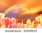 much tulips on background red... | Shutterstock . vector #53349019