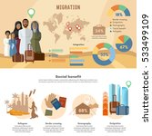 refugee crisis infographic... | Shutterstock .eps vector #533499109