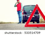 Traffic Warning Sign On Road...