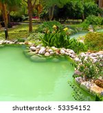 Beauriful Green Pond And Garden