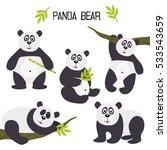set of isolated panda bear  ... | Shutterstock .eps vector #533543659