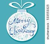 merry christmas card. hand... | Shutterstock .eps vector #533553325