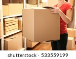 woman holding box at warehouse | Shutterstock . vector #533559199