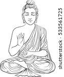 drawing of a buddha statue. art ... | Shutterstock .eps vector #533561725