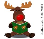 reindeer with a red nose... | Shutterstock .eps vector #533571031
