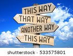 wooden signpost with four... | Shutterstock . vector #533575801