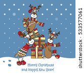 merry christmas card with three ... | Shutterstock .eps vector #533577061