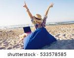 beautiful young woman working... | Shutterstock . vector #533578585
