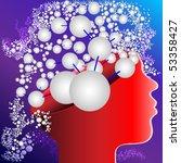 illustration  head with symbol  ... | Shutterstock . vector #53358427