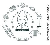 winter kids activities line... | Shutterstock .eps vector #533589559