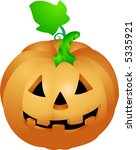 Halloween pumpkin .  an illustration of a halloween pumpkin with a face sculpted in it - stock vector