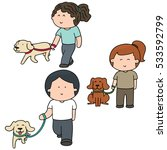 vector set of people and dog | Shutterstock .eps vector #533592799