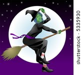 Halloween witch.  An illustration of a scary Halloween with riding her broomstick - stock vector