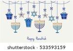 happy hanukkah greeting card or ... | Shutterstock .eps vector #533593159