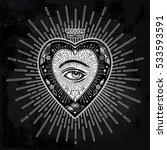 ornate mystic eye inside the... | Shutterstock .eps vector #533593591