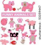 funny animals set. vector | Shutterstock .eps vector #53359447