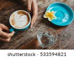 young woman holding a cup of... | Shutterstock . vector #533594821