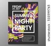 summer night party vector flyer ... | Shutterstock .eps vector #533599765