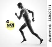 3d running man  black colored . ... | Shutterstock .eps vector #533607841