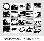 set of 20 black ink brushes... | Shutterstock . vector #533608774