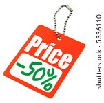 close-up of a Sale tag against white - stock photo