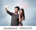 a young couple in love and... | Shutterstock . vector #533612191