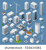 Industrial set of 3D isometric projection of three-dimensional houses, buildings, cranes, cars and many other design elements necessary creative designers for web projects | Shutterstock vector #533614381