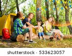 happy family roasting... | Shutterstock . vector #533623057
