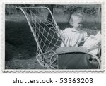 Vintage photo of baby girl (1955) - stock photo
