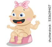 cute baby girl with a pink bow...   Shutterstock .eps vector #533639407