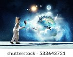 she dreams to explore space .... | Shutterstock . vector #533643721