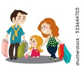 cute cartoon family shopping.... | Shutterstock .eps vector #533644705