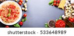 plate of pasta with tomato... | Shutterstock . vector #533648989