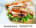 grilled bacon sandwich | Shutterstock . vector #533650735