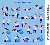 fitness exercises with cartoon... | Shutterstock .eps vector #533655019