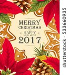 christmas card with poincettia | Shutterstock .eps vector #533660935