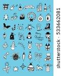 set of christmas doodles | Shutterstock .eps vector #533662081