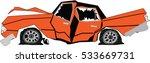 broken orange luxury car....