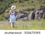 beautiful female walking on... | Shutterstock . vector #533675395