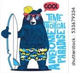 cute surfer  bear vector design ... | Shutterstock .eps vector #533679334