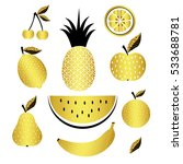 golden fruits. vector set   Shutterstock .eps vector #533688781