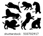 Stock photo lion silhouettes a set of male and female lions in silhouette 533702917