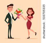man character give bouquet... | Shutterstock .eps vector #533705335
